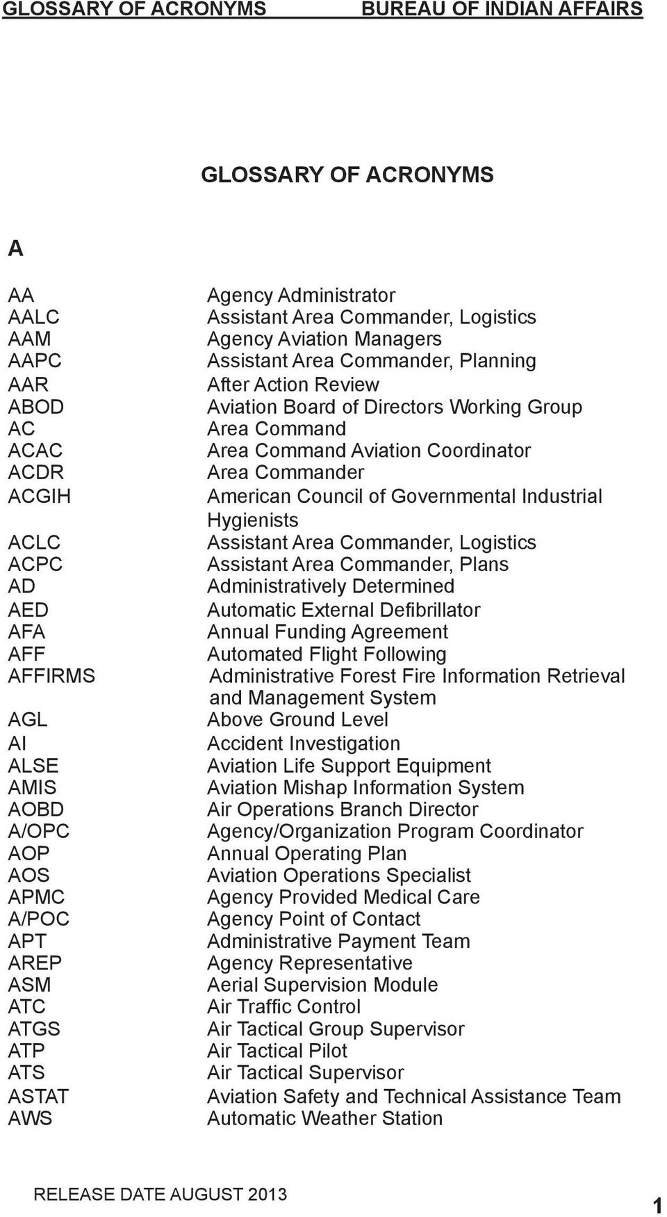 Aviation Coordinator Area Commander American Council of Governmental Industrial Hygienists Assistant Area Commander, Logistics Assistant Area Commander, Plans Administratively Determined Automatic