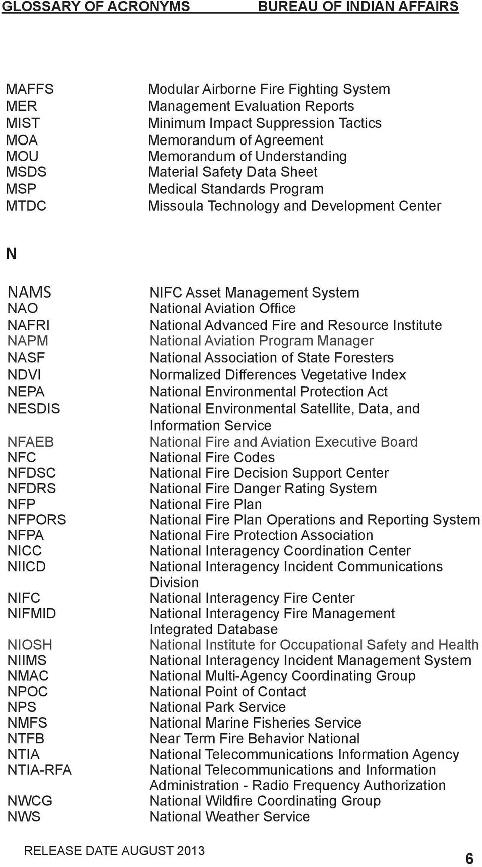 NIFMID NIOSH NIIMS NMAC NPOC NPS NMFS NTFB NTIA NTIA-RFA NWCG NWS NIFC Asset Management System National Aviation Office National Advanced Fire and Resource Institute National Aviation Program Manager