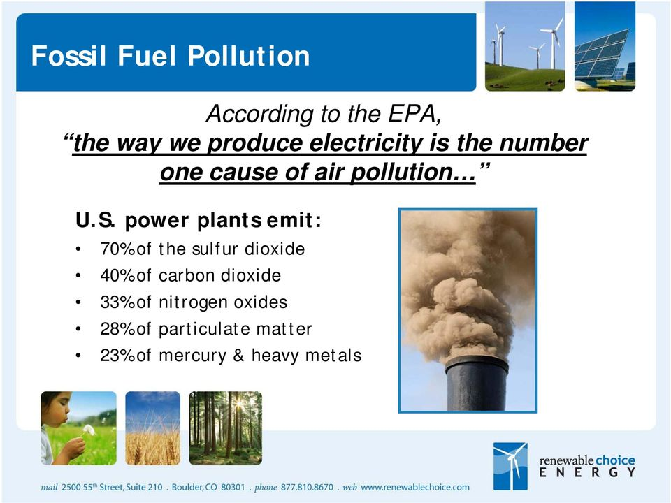 power plants emit: 70% of the sulfur dioxide 40% of carbon dioxide