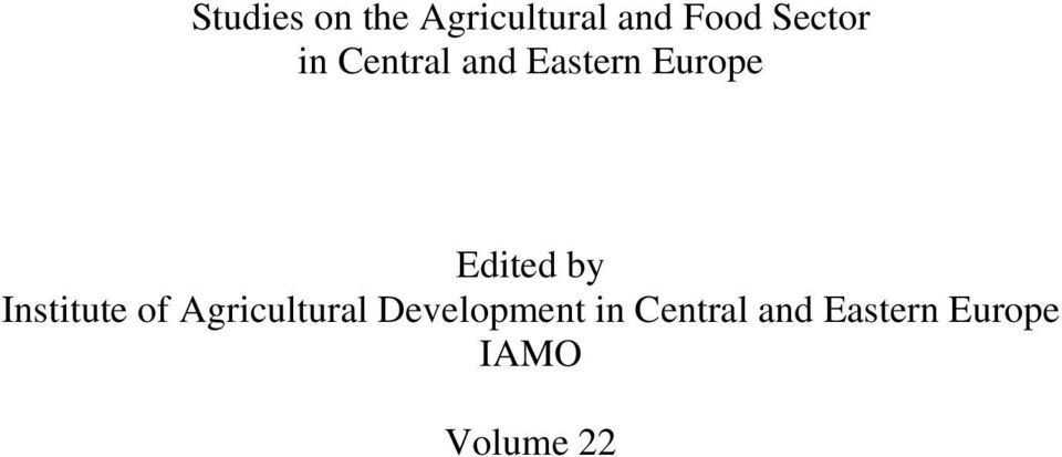 Edited by Institute of Agricultural