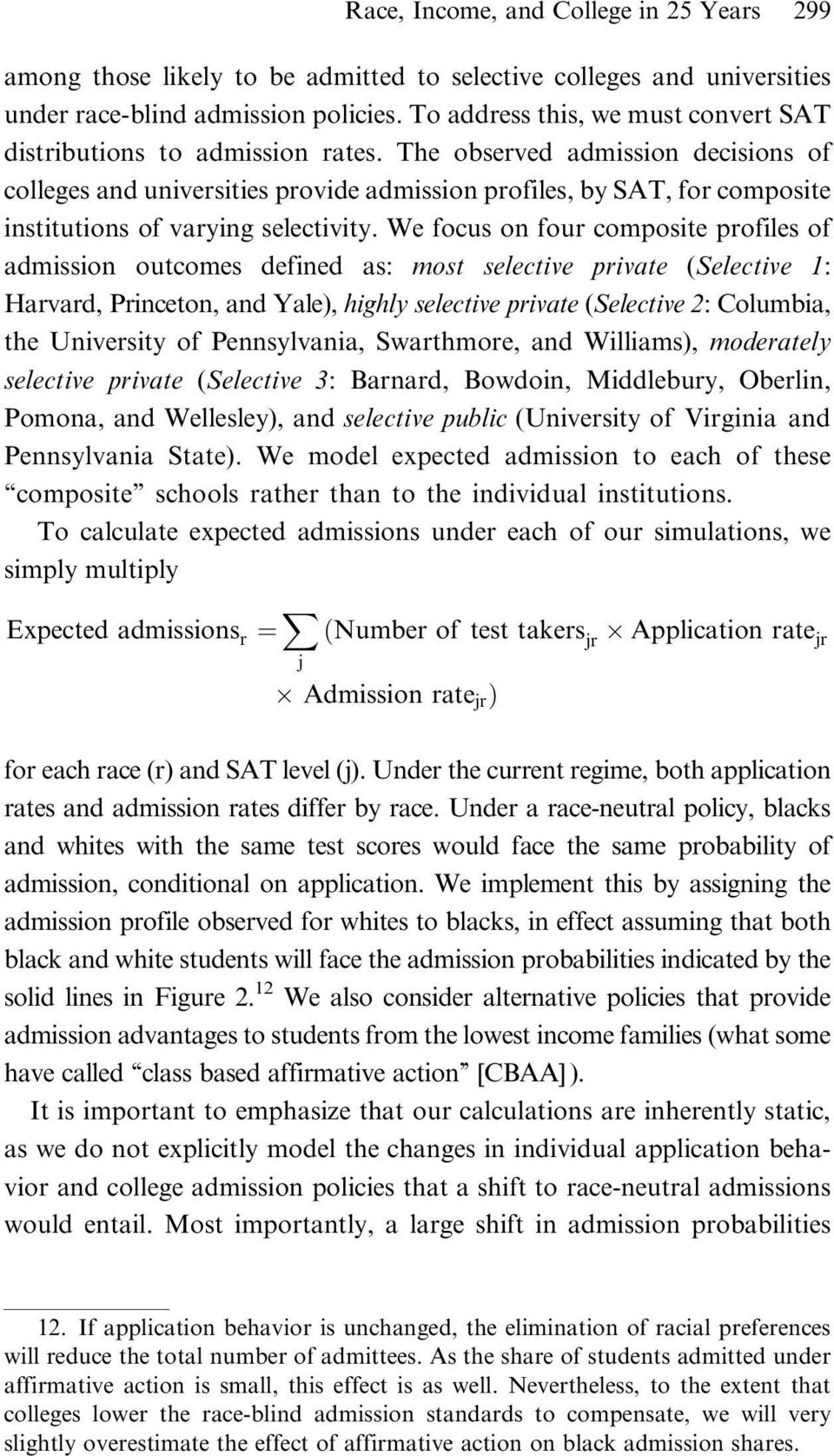 The observed admission decisions of colleges and universities provide admission profiles, by SAT, for composite institutions of varying selectivity.