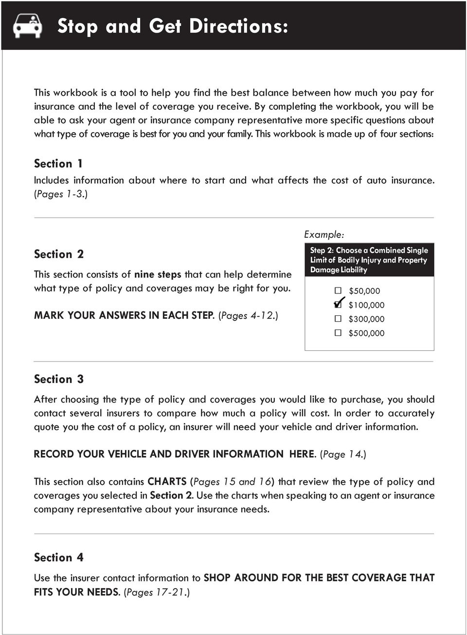 This workbook is made up of four sections: Section 1 Includes information about where to start and what affects the cost of auto insurance. (Pages 1-3.