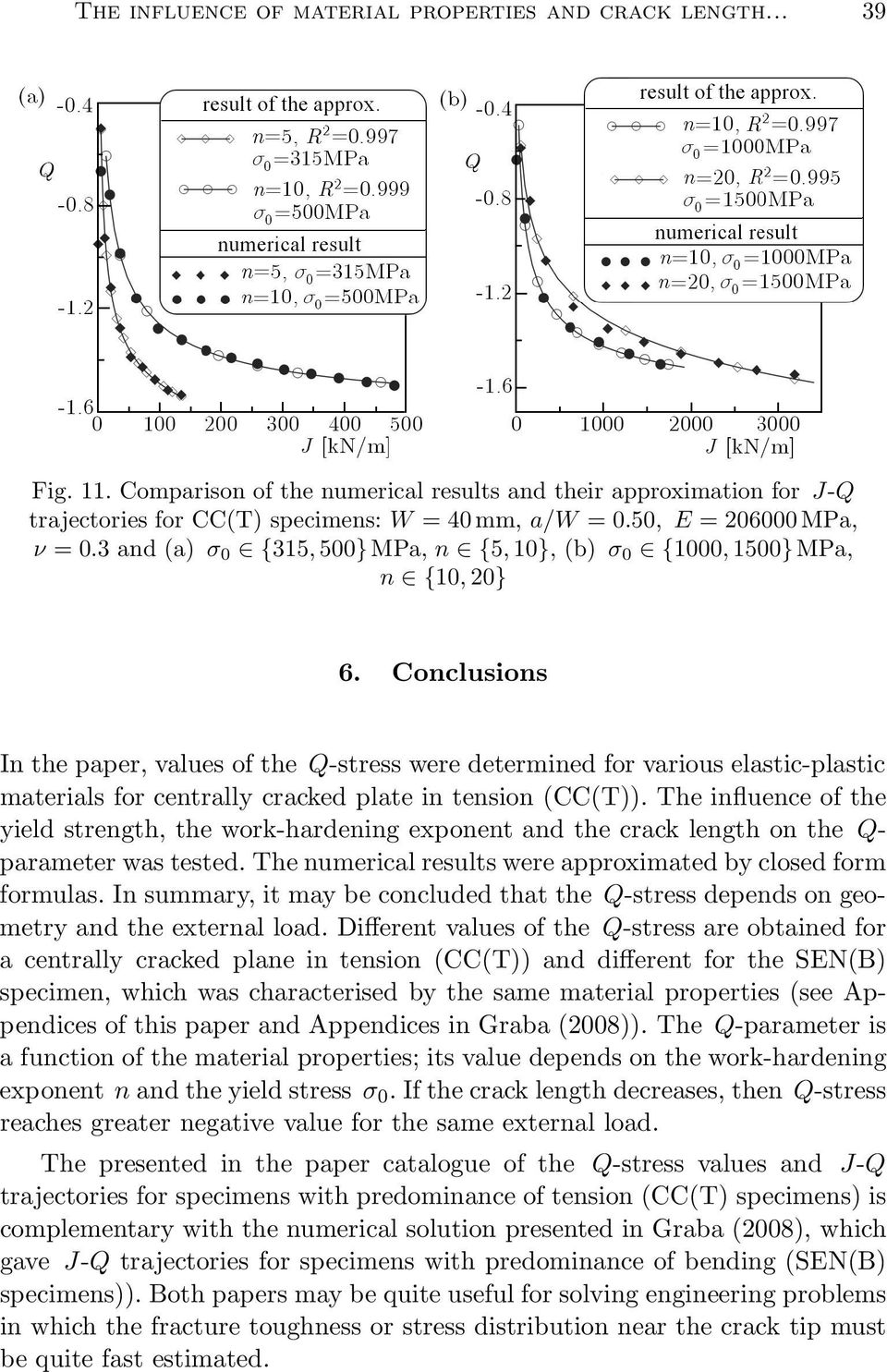 Conclusions In the paper, values of the Q-stress were determined for various elastic-plastic materials for centrally cracked plate in tension(cc(t)).