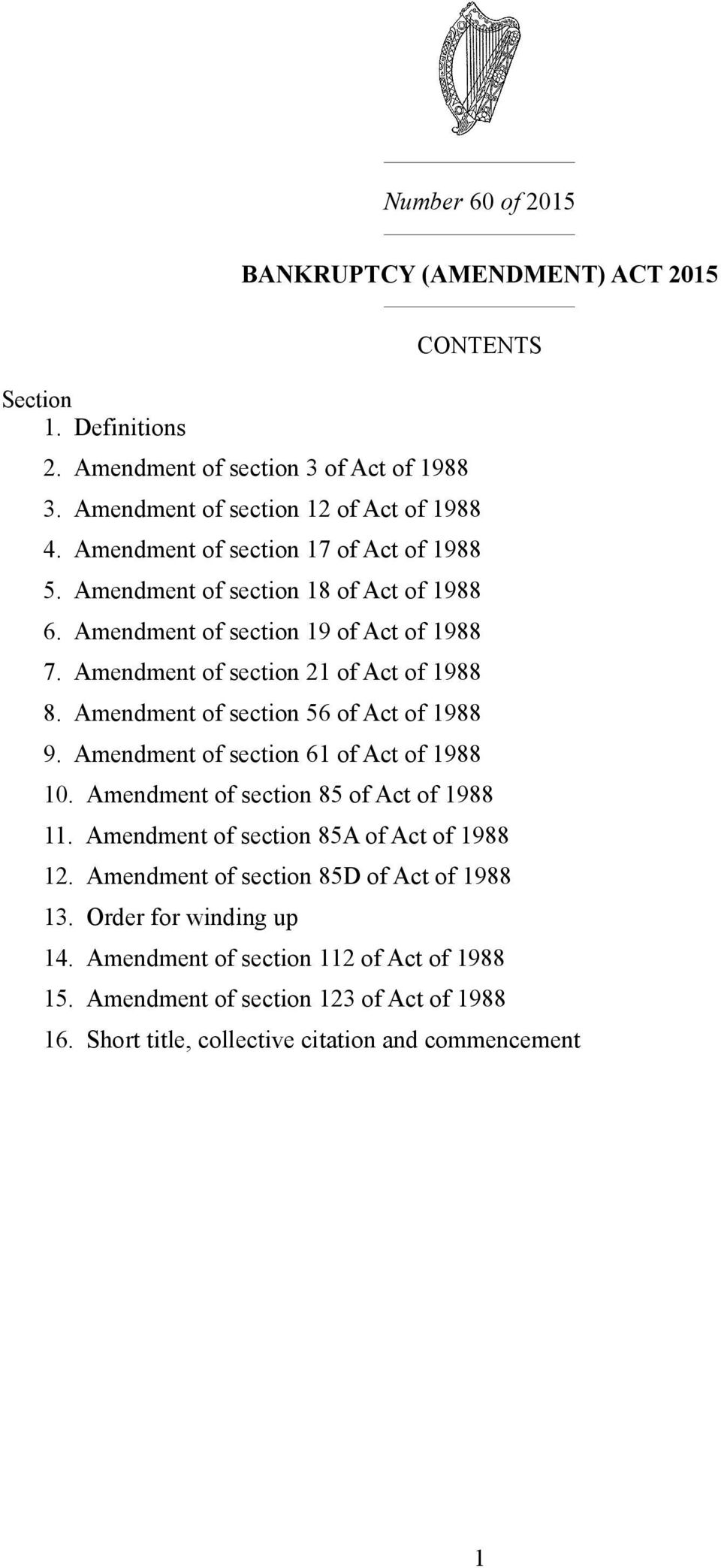 Amendment of section 56 of Act of 1988 9. Amendment of section 61 of Act of 1988 10. Amendment of section 85 of Act of 1988 11. Amendment of section 85A of Act of 1988 12.