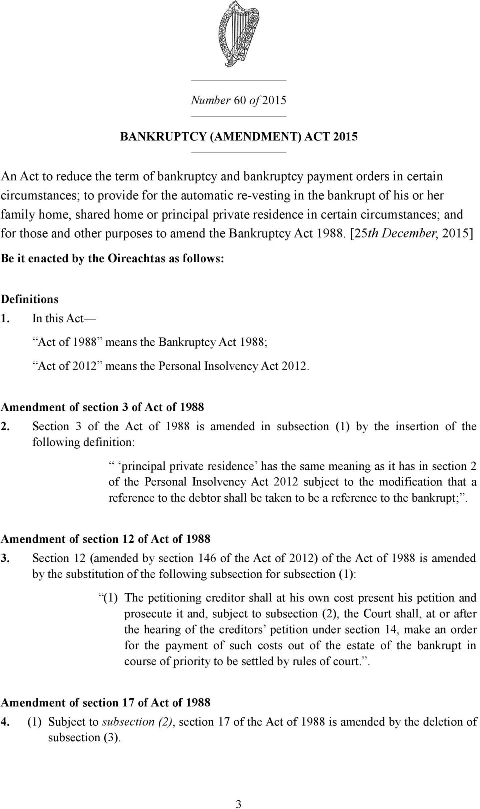 [25th December, 2015] Be it enacted by the Oireachtas as follows: Definitions 1. In this Act Act of 1988 means the Bankruptcy Act 1988; Act of 2012 means the Personal Insolvency Act 2012.