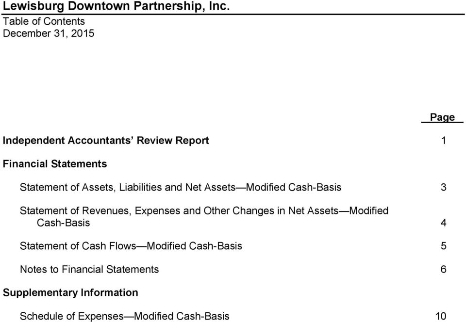Other Changes in Net Assets Modified Cash-Basis 4 Statement of Cash Flows Modified Cash-Basis 5