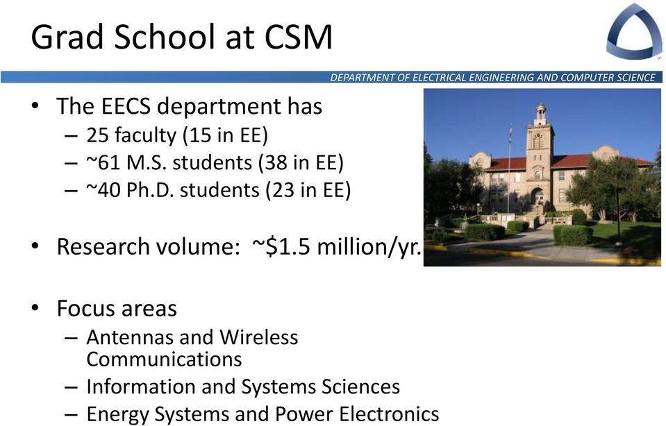 students (23 in EE) Research volume: ~$1.5 million/yr.