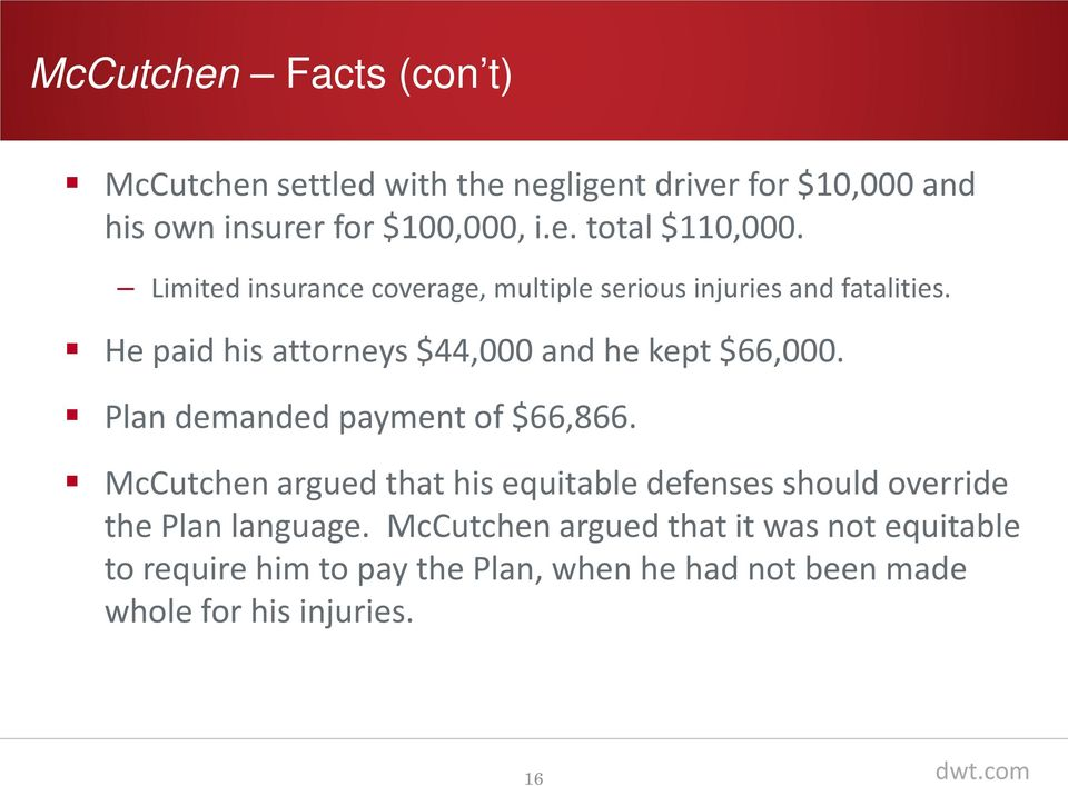 Plan demanded payment of $66,866. McCutchen argued that his equitable defenses should override the Plan language.