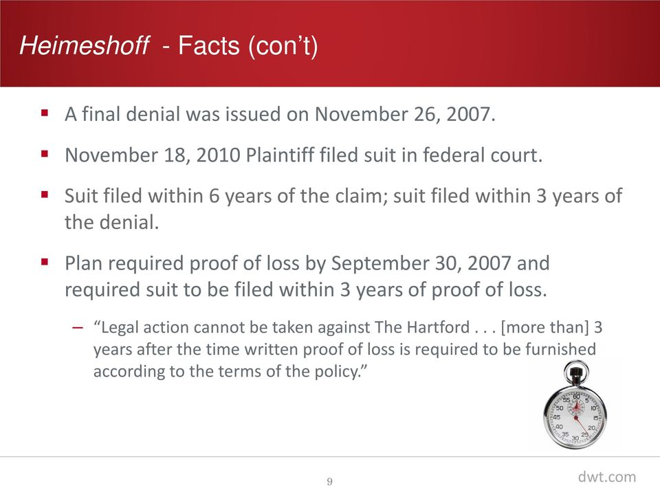 Suit filed within 6 years of the claim; suit filed within 3 years of the denial.
