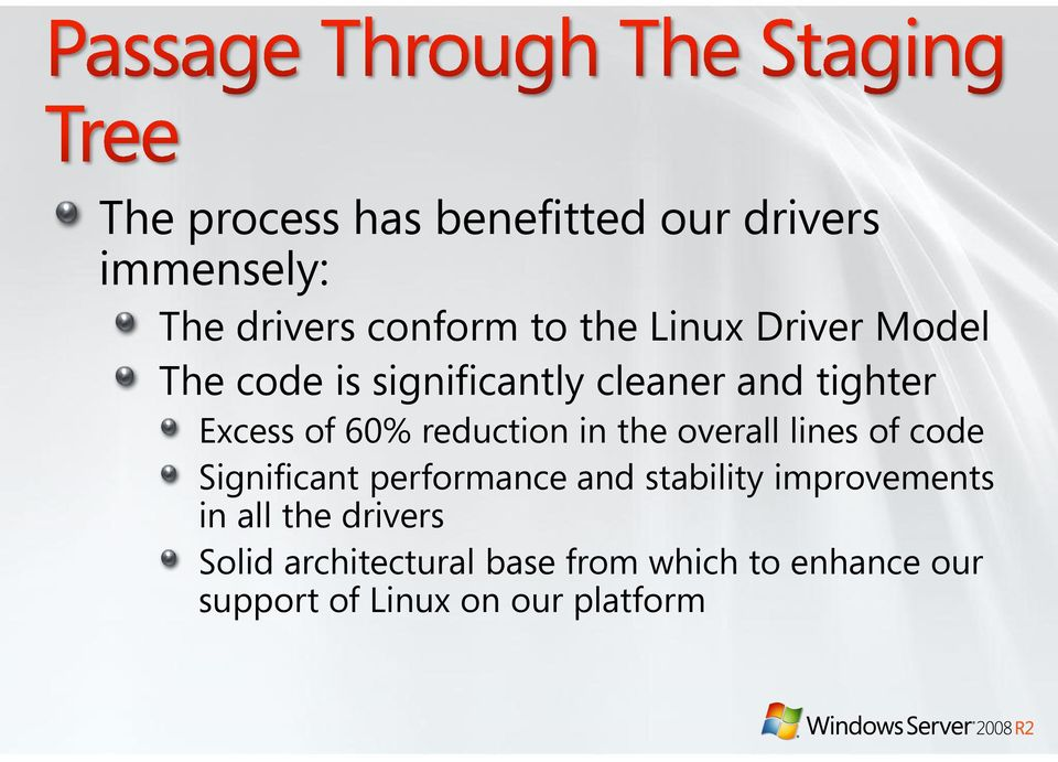 the overall lines of code Significant performance and stability improvements in all