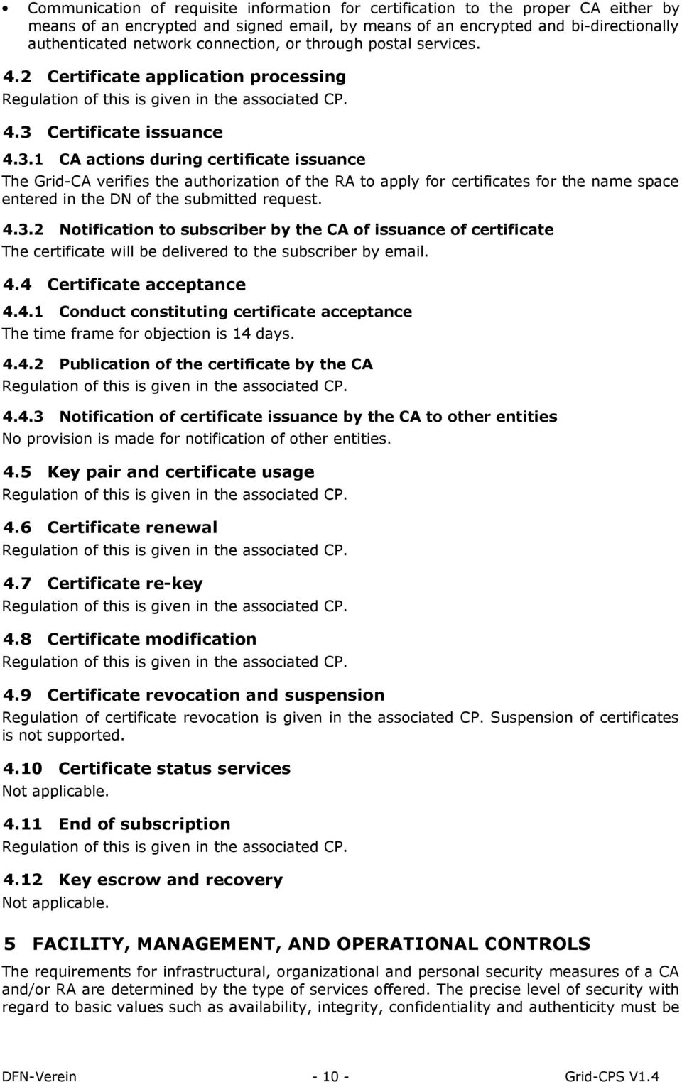 Certificate issuance 4.3.