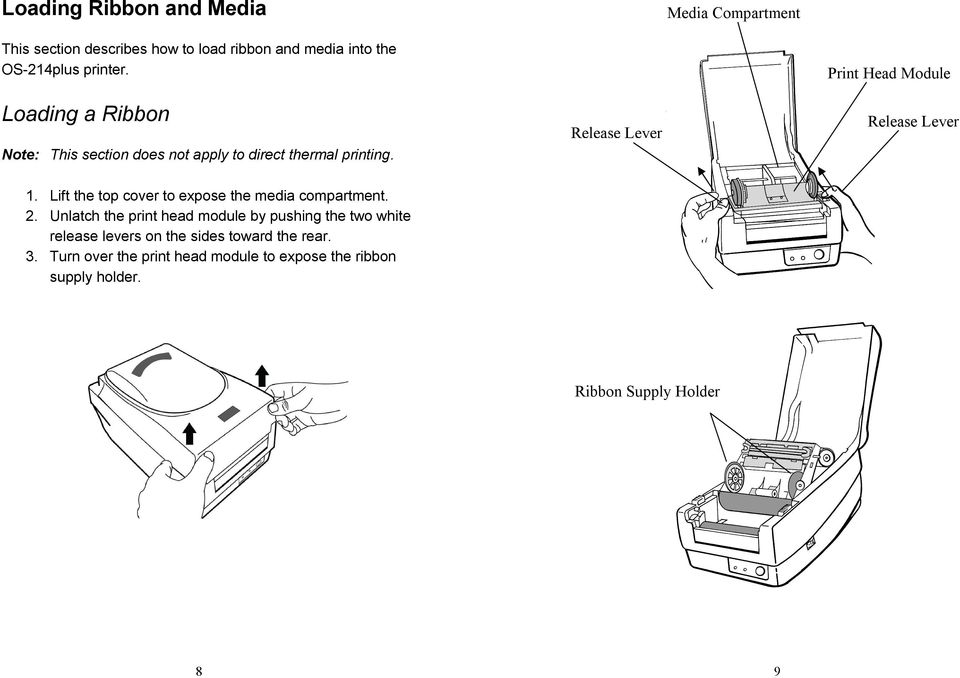 Release Lever Print Head Module Release Lever 1. Lift the top cover to expose the media compartment. 2.