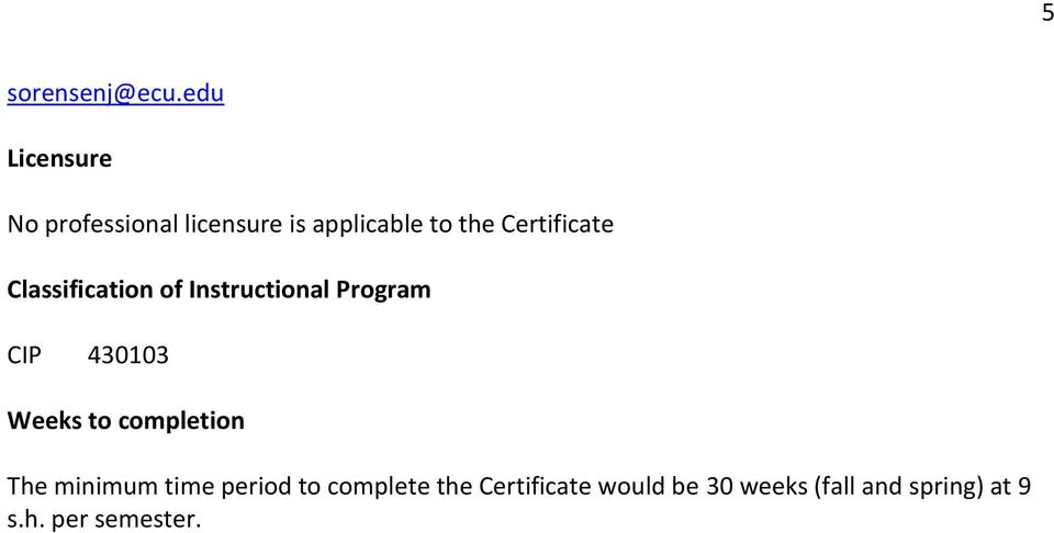 Certificate Classification of Instructional Program CIP 430103