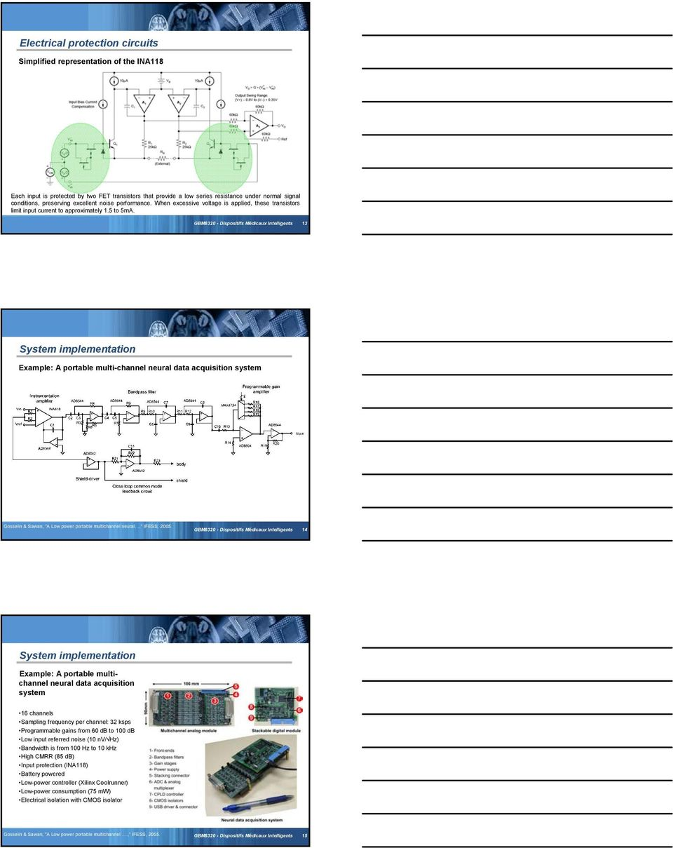 Gbm8320 Dispositifs Mdicaux Intelligents Pdf Video Amplifier Circuit Based Ic Lm359 Gbm830 13 System Implementation Example A Portable Multi Channel Neural