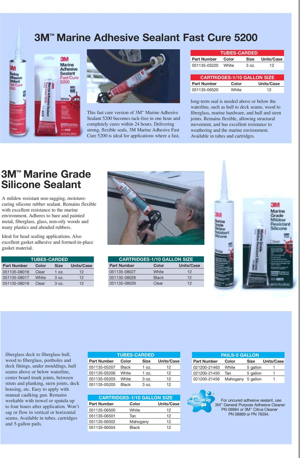 Delivering strong, flexible seals, 3M Marine Adhesive Fast Cure 5200 is ideal for applications where a fast, long-term seal is needed above or below the waterline, such as hull to deck seams, wood to