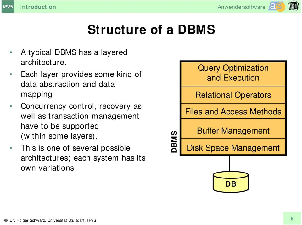 transaction management have to be supported (within some layers).