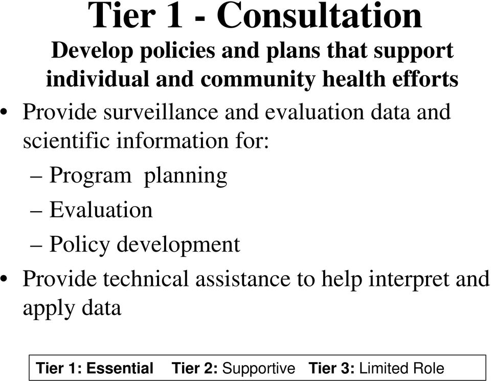 evaluation data and scientific information for: Program planning