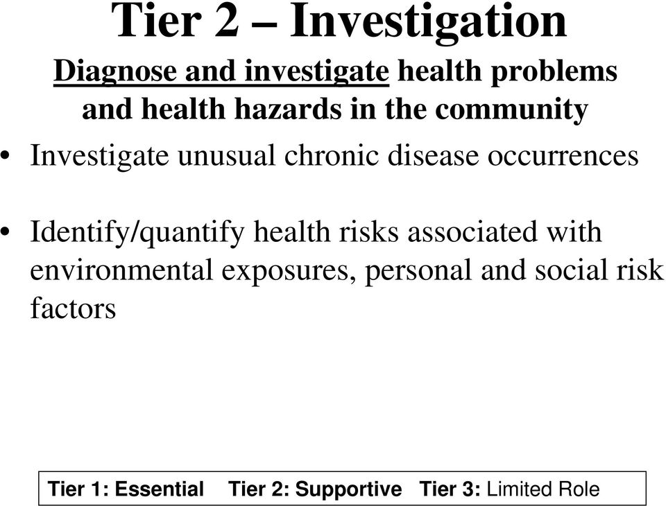 chronic disease occurrences Identify/quantify health risks