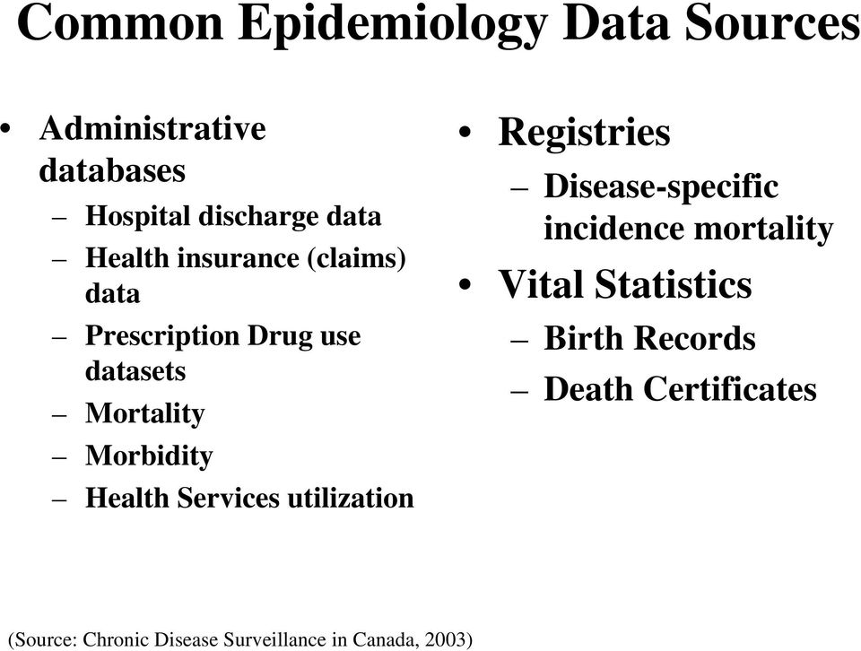 Health Services utilization Registries Disease-specific incidence mortality Vital