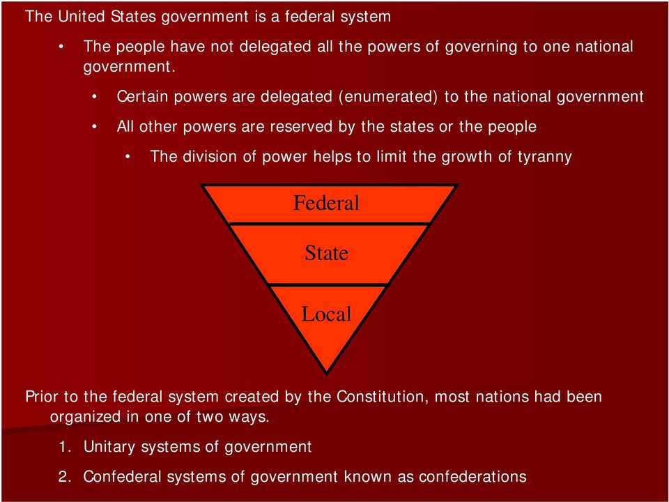 division of power helps to limit the growth of tyranny Federal State Local Prior to the federal system created by the Constitution,
