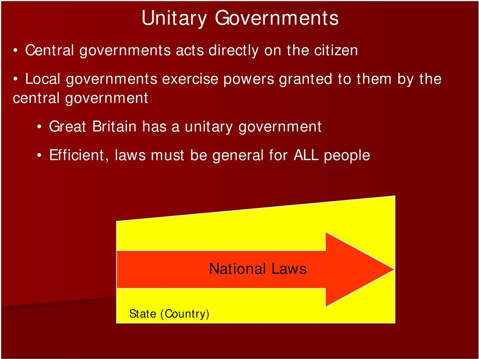 central government Great Britain has a unitary government