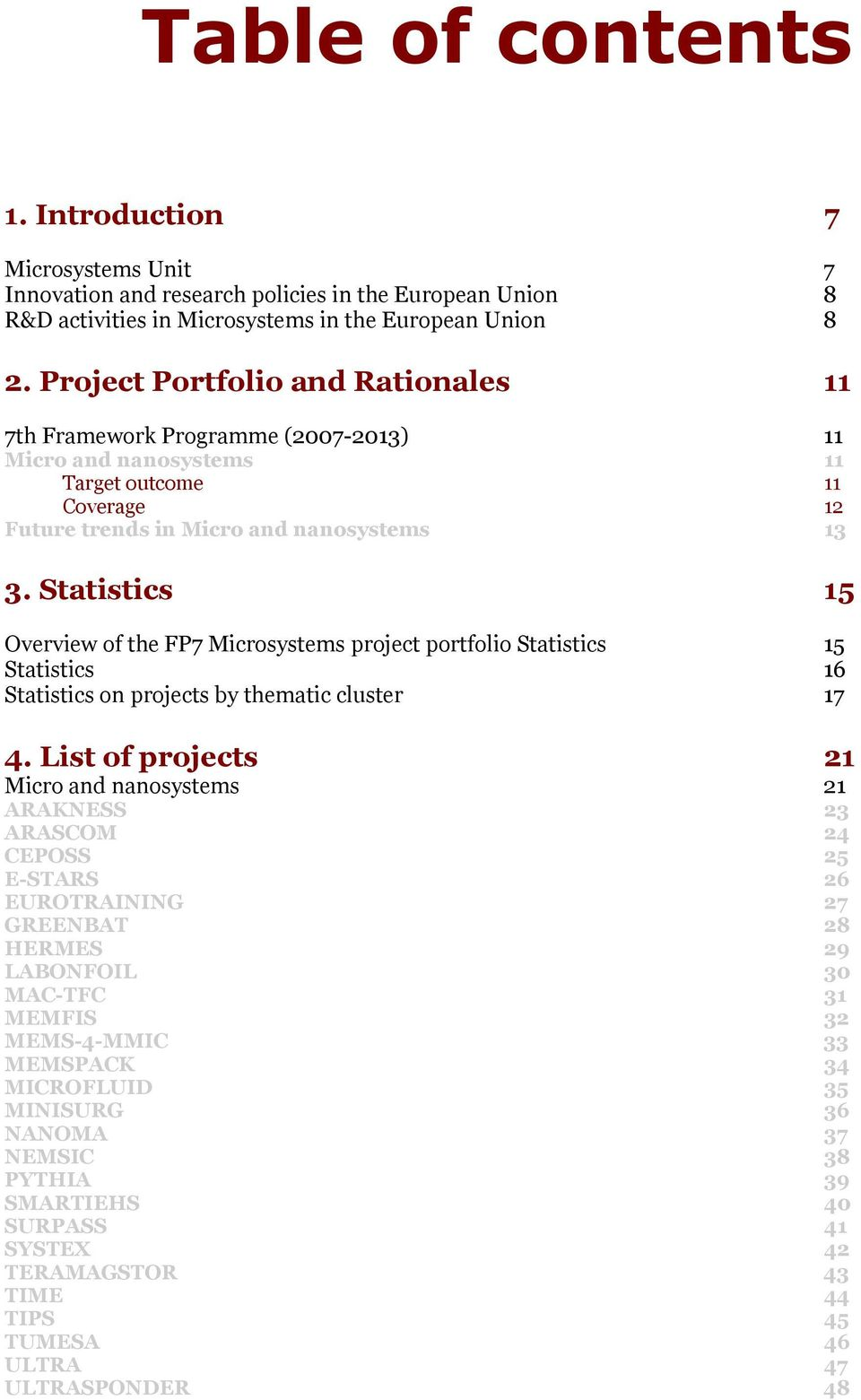 Statistics 15 Overview of the FP7 Microsystems project portfolio Statistics 15 Statistics 16 Statistics on projects by thematic cluster 17 4.