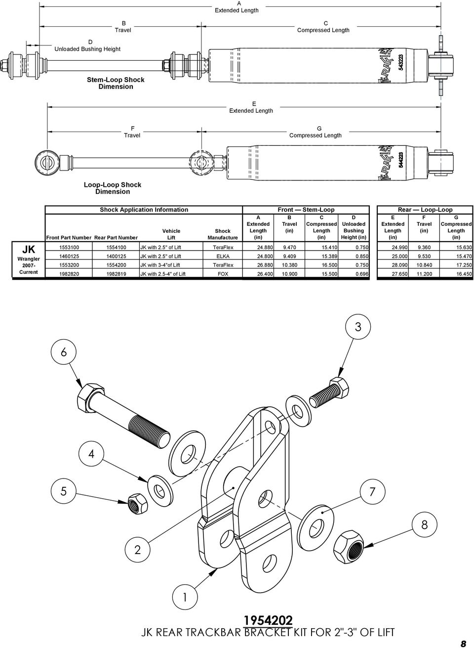 "ZONE REV. DESCRIPT D Unloaded Bushing Height (in) E Extended Length A (in) F Travel (in) G Compressed Length 14MM HARDWARE CH 1553100 1554100 JK with 2.5"" of Lift TeraFlex 24.880 9.470 15.410 0."