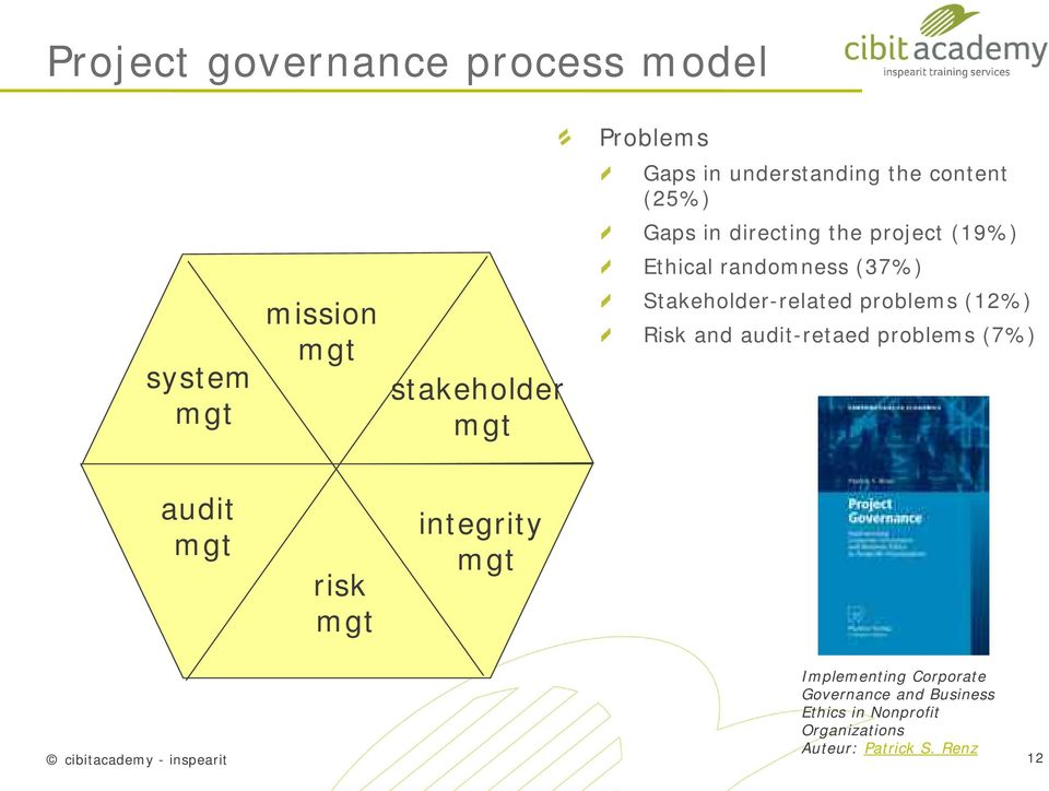 Stakeholder-related problems (12%) Risk and audit-retaed problems (7%) audit risk integrity