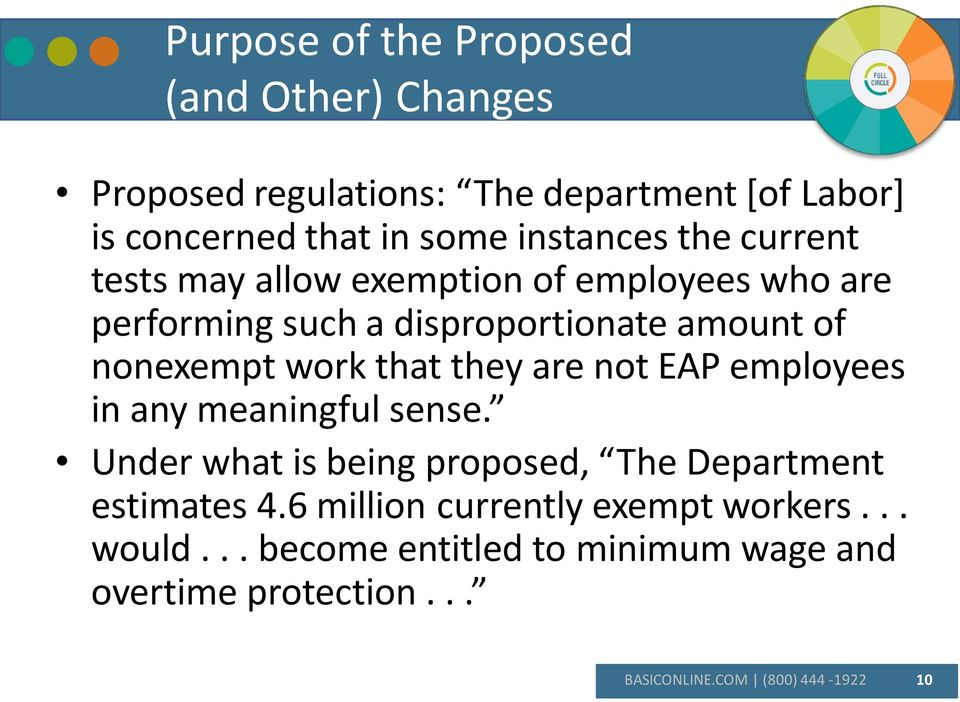 work that they are not EAP employees in any meaningful sense. Under what is being proposed, The Department estimates 4.