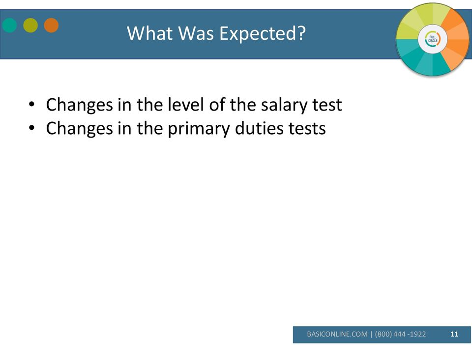 salary test Changes in the