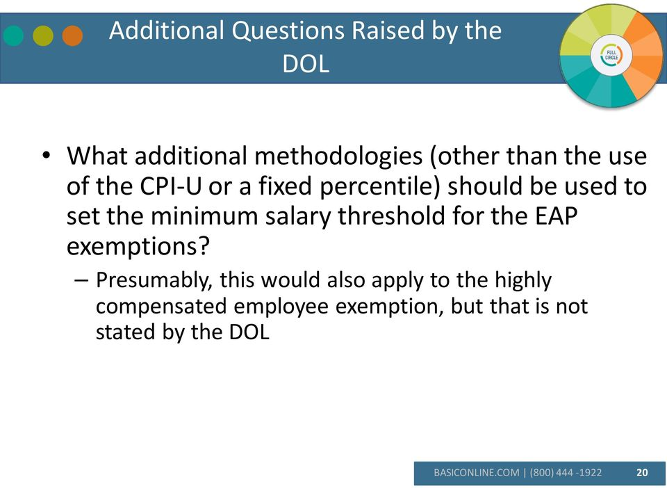 threshold for the EAP exemptions?