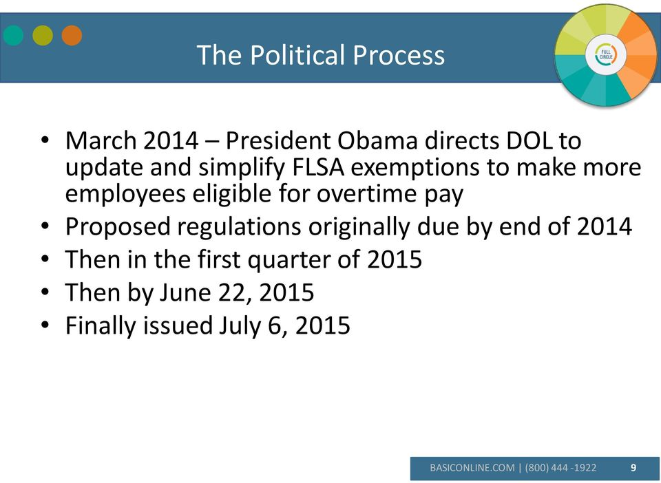 Proposed regulations originally due by end of 2014 Then in the first quarter