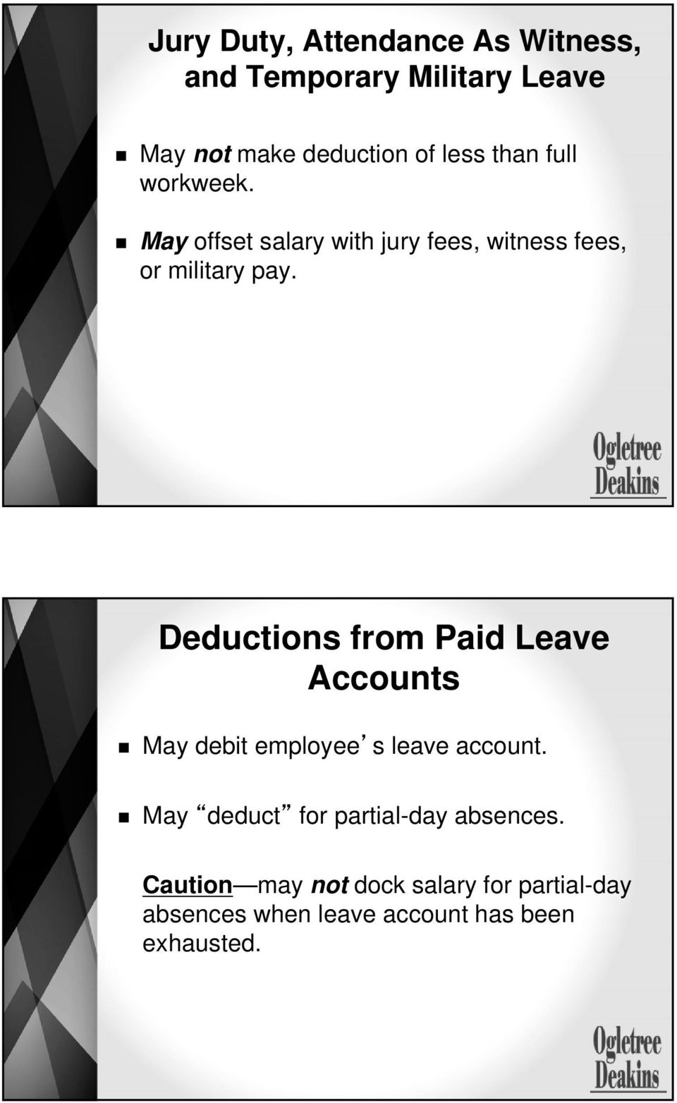 Deductions from Paid Leave Accounts May debit employee s leave account.