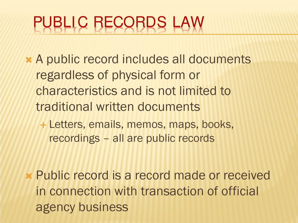 Letters, emails, memos, maps, books, recordings all are public records Public