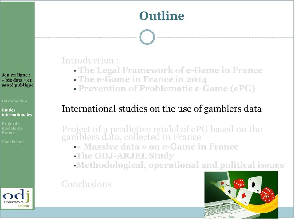 of a predictive model of epg based on the gamblers data, collected in «Massive