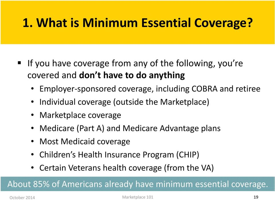 coverage, including COBRA and retiree Individual coverage (outside the Marketplace) Marketplace coverage Medicare (Part