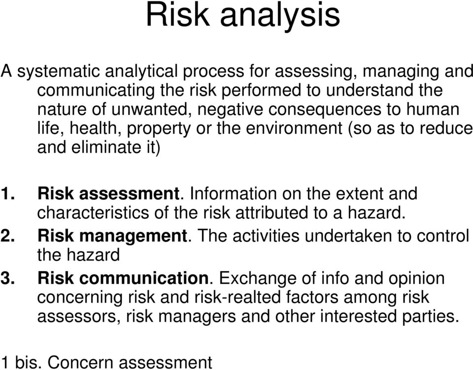 Information on the extent and characteristics of the risk attributed to a hazard. 2. Risk management. The activities undertaken to control the hazard 3.