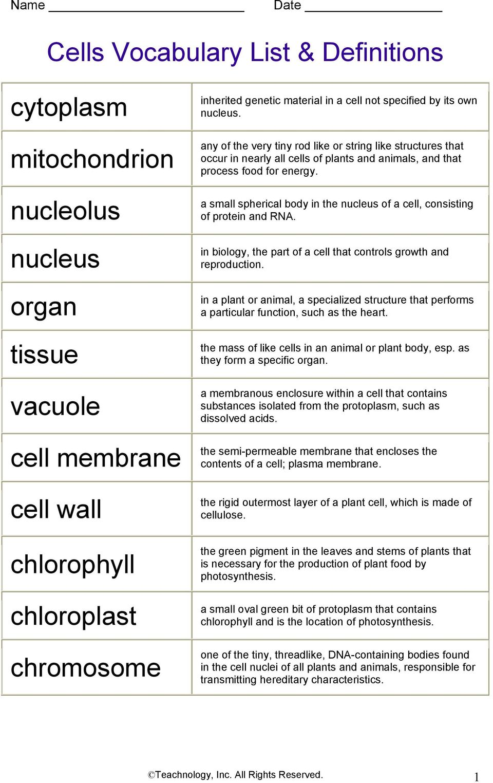 cells vocabulary list definitions pdf. Black Bedroom Furniture Sets. Home Design Ideas