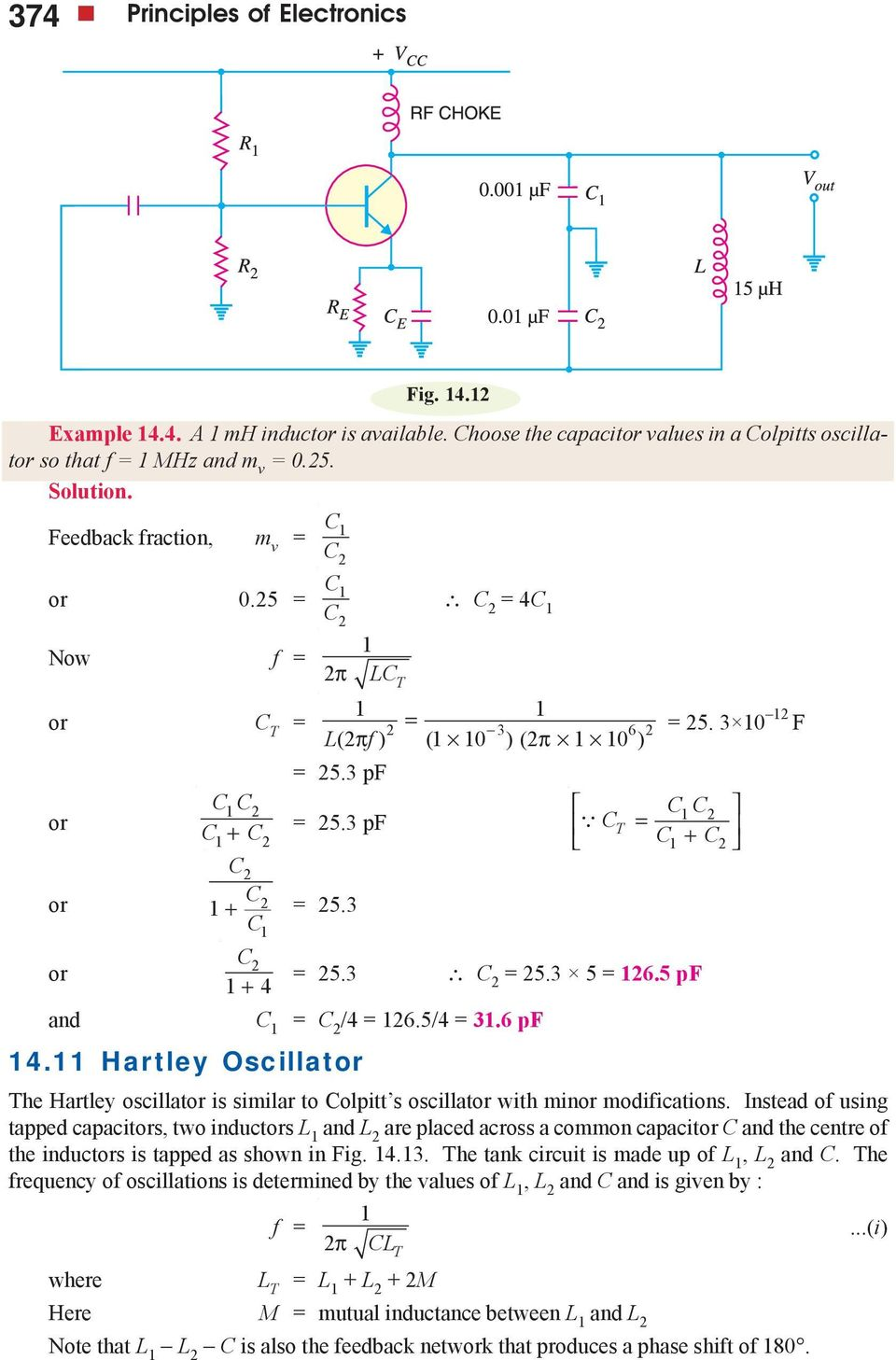 3 5 26.5 pf and C C 2 /4 26.5/4 3.6 pf 4. Hartley Oscillator The Hartley oscillator is similar to Colpitt s oscillator with minor modifications.