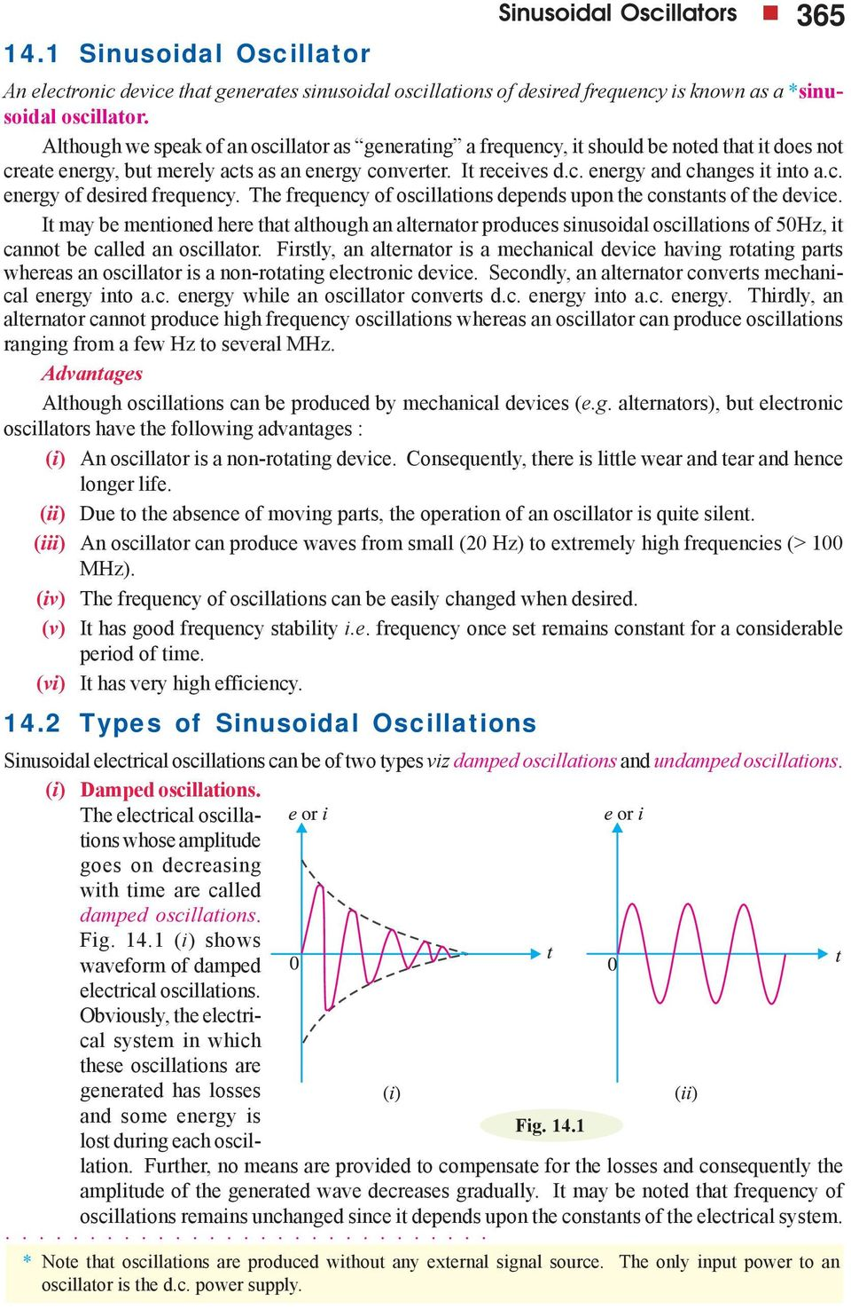 c. energy of desired frequency. The frequency of oscillations depends upon the constants of the device.