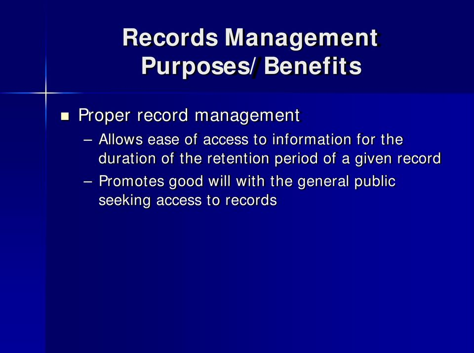 duration of the retention period of a given record