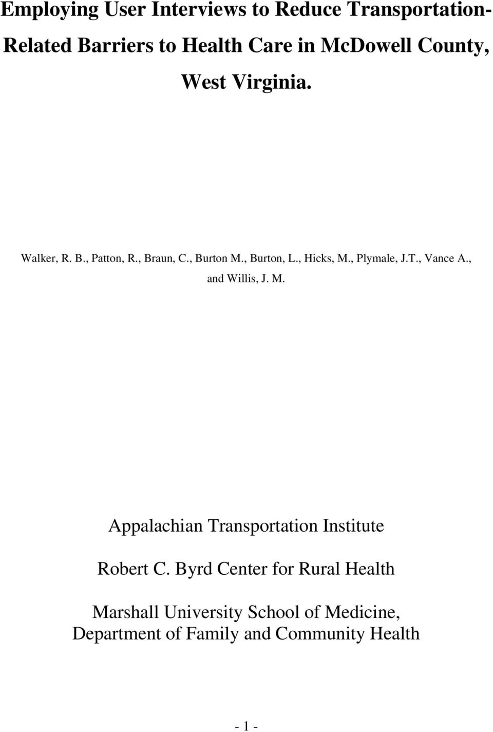 , Plymale, J.T., Vance A., and Willis, J. M. Appalachian Transportation Institute Robert C.