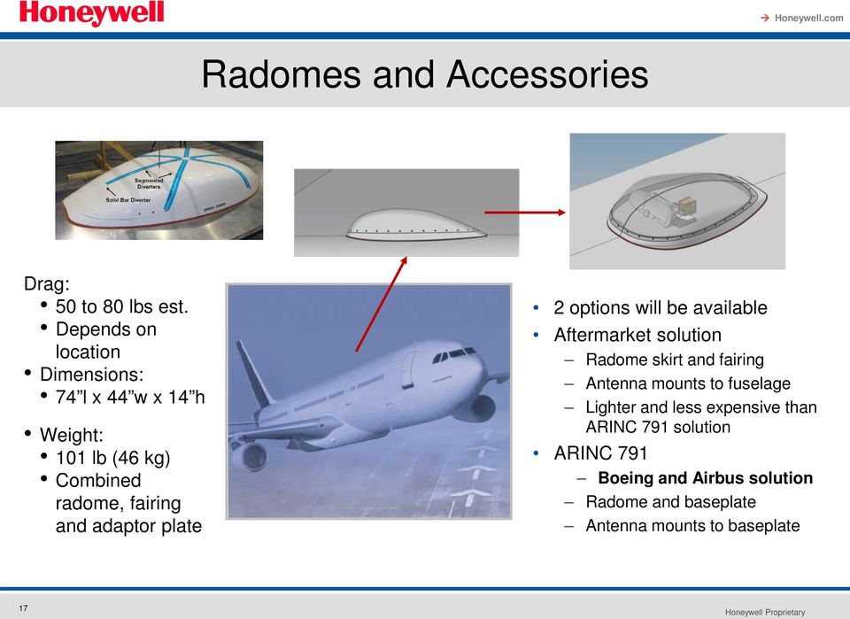 and adaptor plate 2 options will be available Aftermarket solution Radome skirt and fairing Antenna