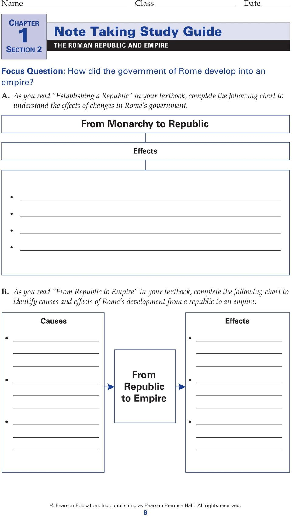 As you read Establishing a Republic in your textbook, complete the following chart to understand the effects of changes in Rome s