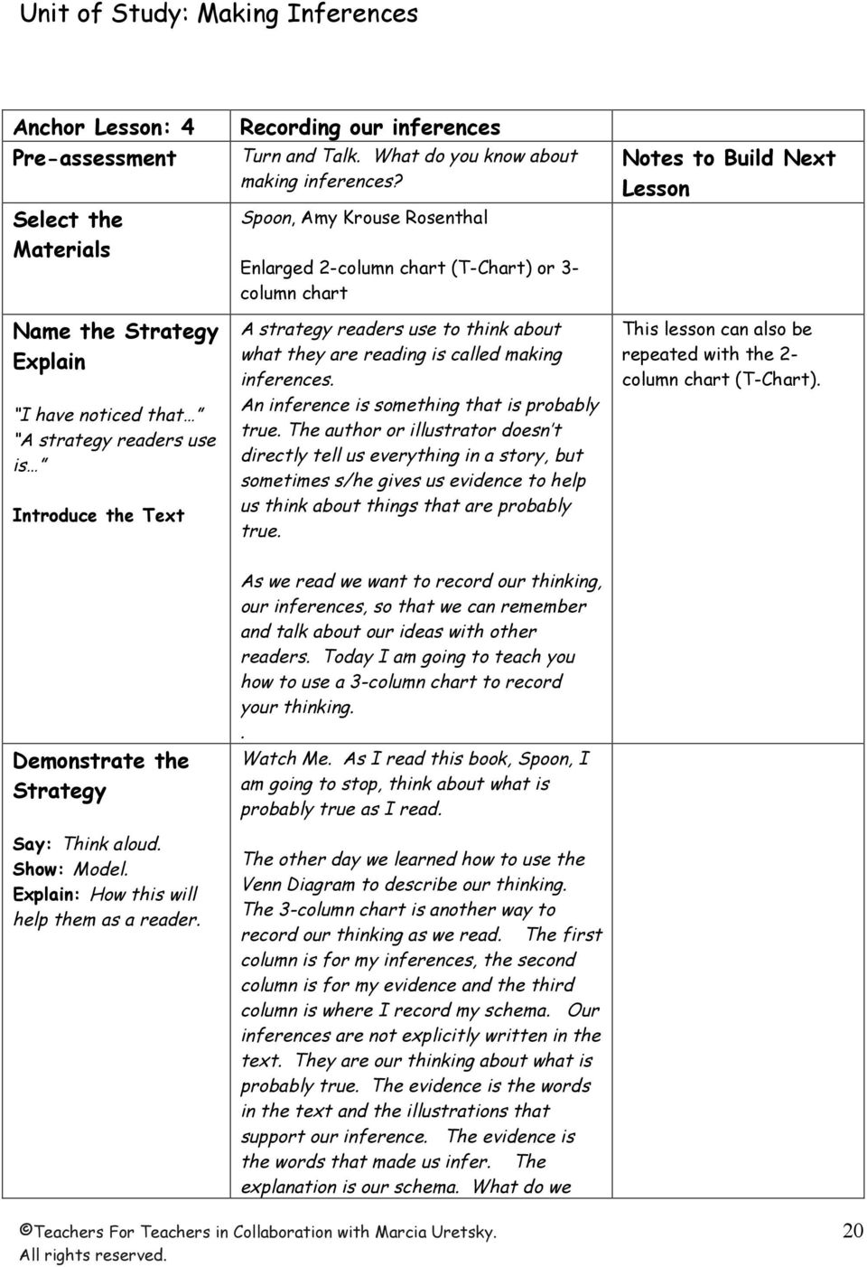 Spoon, Amy Krouse Rosenthal Enlarged 2-column chart (T-Chart) or 3- column chart A strategy readers use to think about what they are reading is called making inferences.