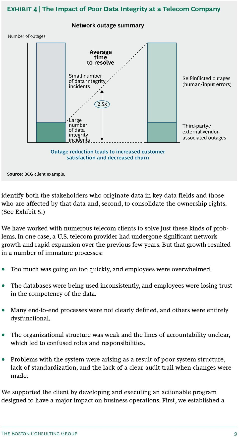 5x Large number of data integrity incidents Third-party-/ external-vendorassociated outages Outage reduction leads to increased customer satisfaction and decreased churn Source: BCG client example.