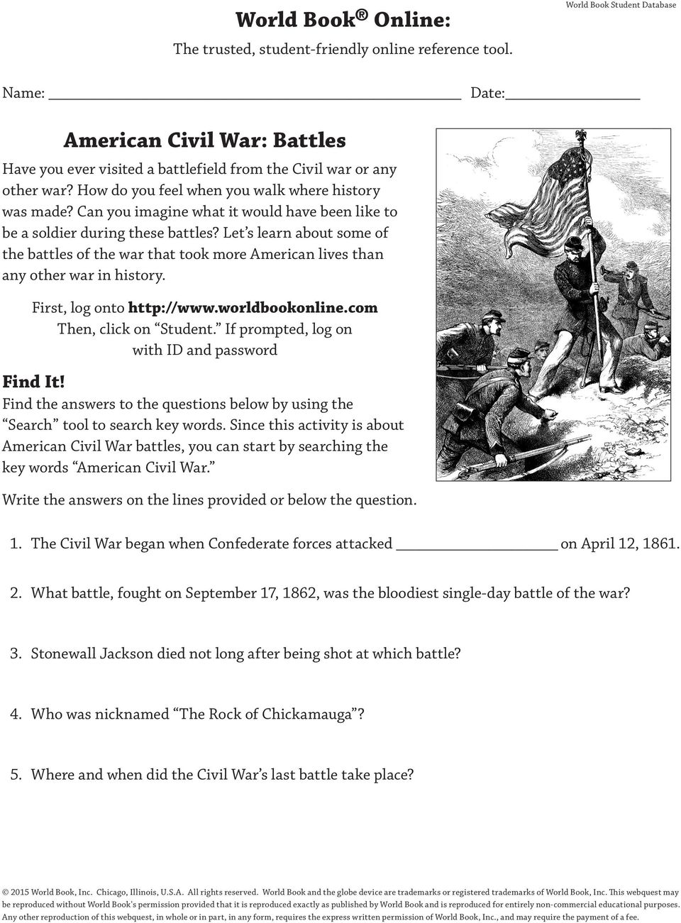 Can you imagine what it would have been like to be a soldier during these battles? Let s learn about some of the battles of the war that took more American lives than any other war in history.