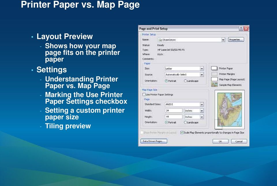 printer paper Settings - Understanding  Map Page - Marking the
