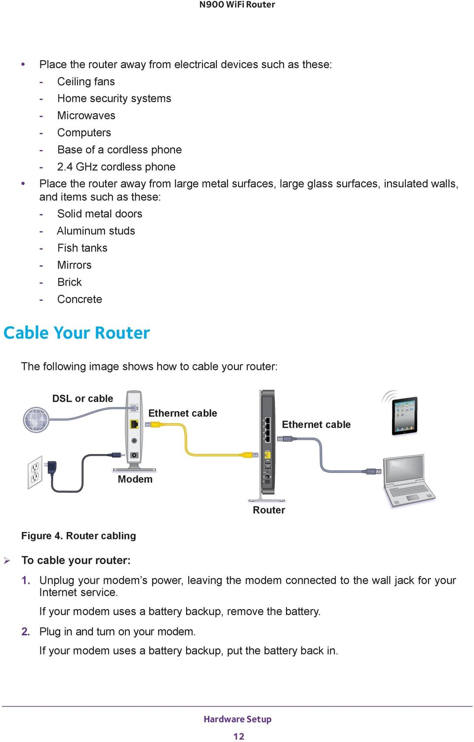 Brick - Concrete Cable Your Router The following image shows how to cable your router: DSL or cable Ethernet cable Ethernet cable Modem Router Figure 4. Router cabling To cable your router: 1.