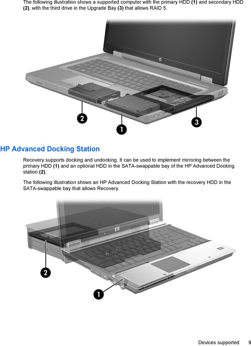 It can be used to implement mirroring between the primary HDD (1) and an optional HDD in the SATA-swappable bay of the HP Advanced